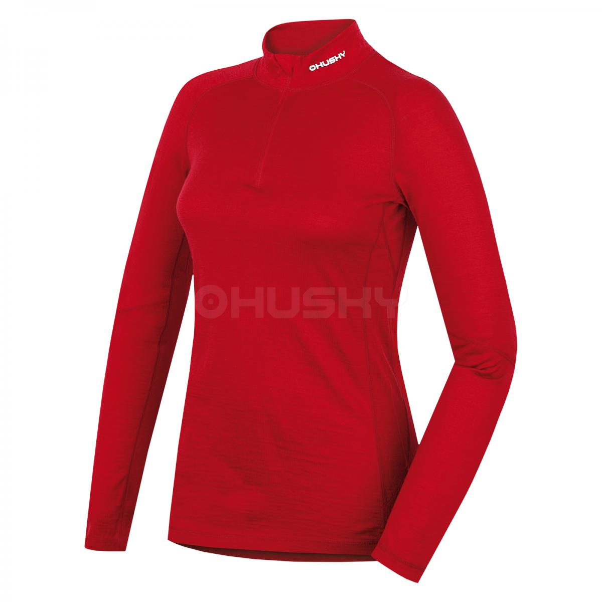 Merino termoprádlo - Triko dlouhé dámské se zipem – červená  30af975c5a