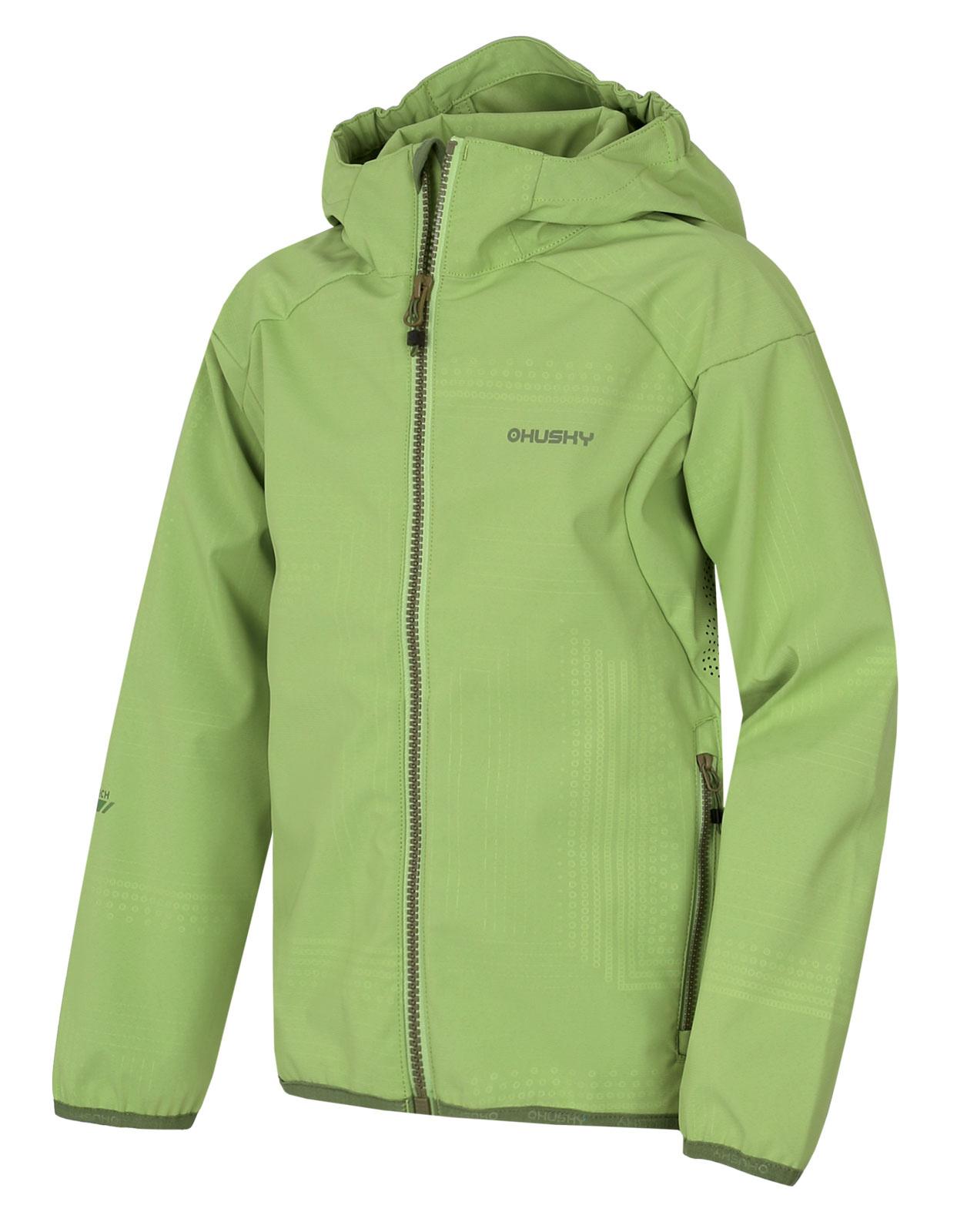 Husky Zally Kids 134-140, sv. zelená Dětská softshellová bunda