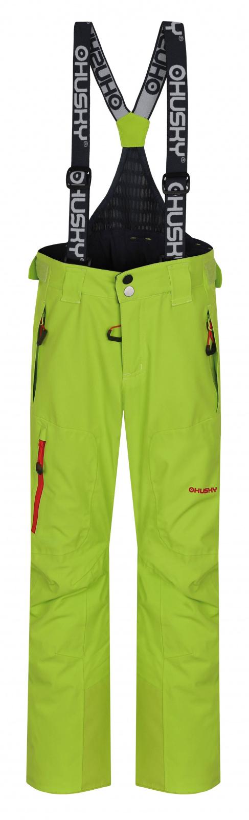 Husky Zeus Kids 134-140, výrazně zelená Dětské lyžařské kalhoty